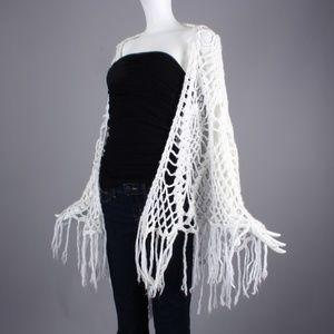 Vintage Sweaters - Vintage 70s Peacock Crochet Knit Fringe Shawl Boho